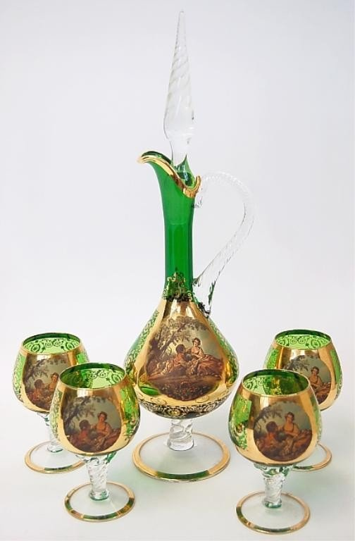 8: Italian liquor decanter and goblets