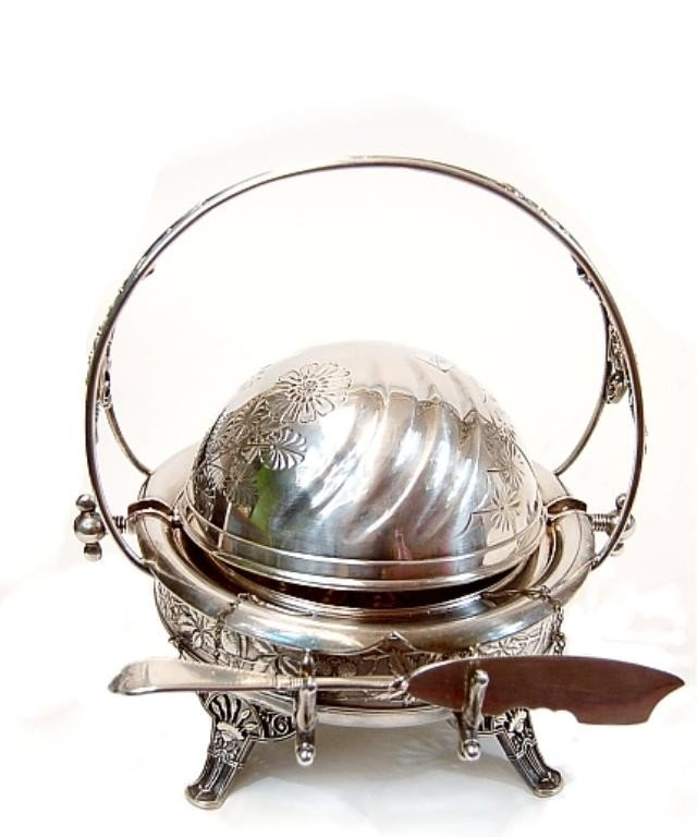 14: Victorian silver-plate covered butter dish