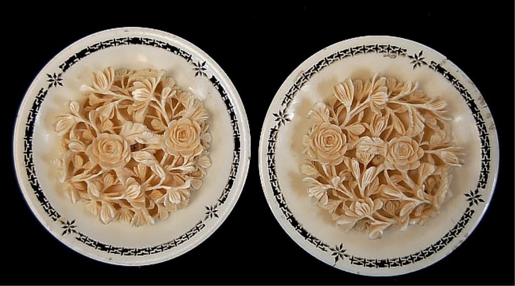 22: Pair of Japanese carved ivory bouquet plates
