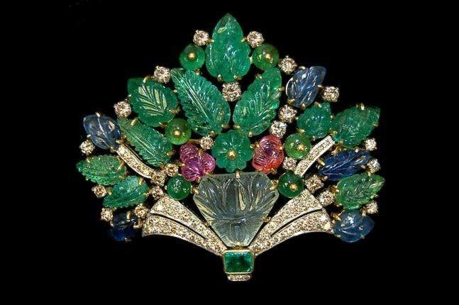 18K Cartier style bouquet brooch