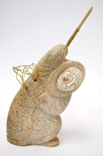 122: Chupak carved whale bone sculpture