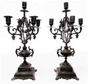 "Pair of 17"" bronze candleabras c.1850"