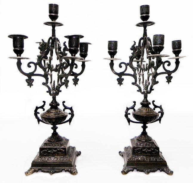 "6: Pair of 17"" bronze candleabras c.1850"