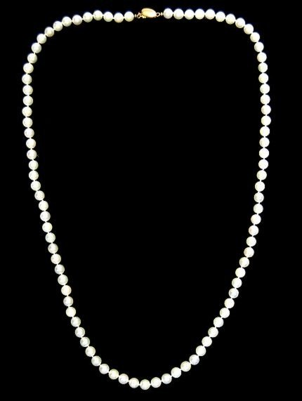 """13: Nice 27"""" string of cultured pearls"""