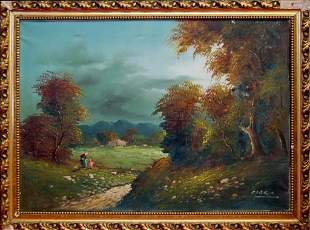 European oil painting pastoral landscape