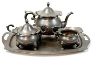 Poole pewter tea set c.19th cen.
