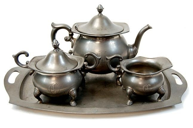 20: Poole pewter tea set c.19th cen.