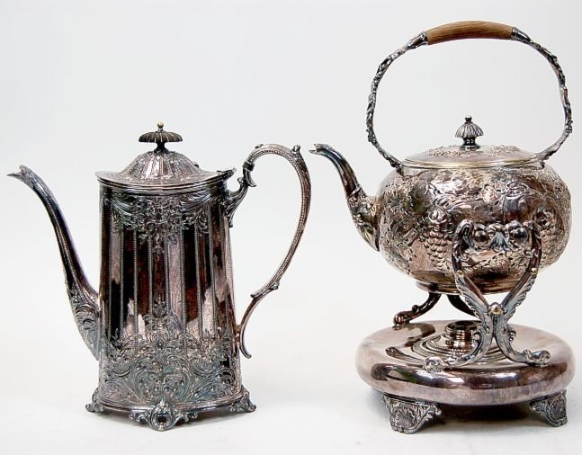 23: Victorian repousse coffee & teapot
