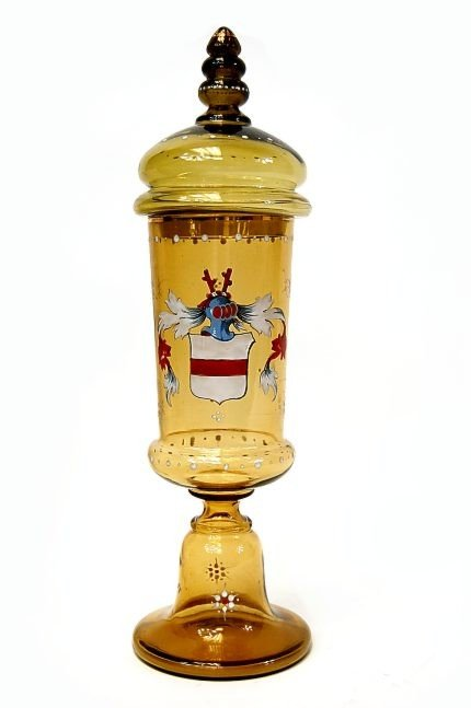 """24: Antique German 16.25"""" stemmed Pokal"""