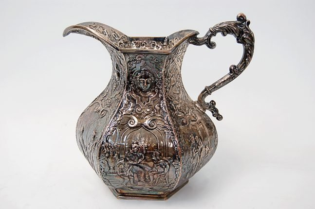 """8: European repousse 9"""" water pitcher"""