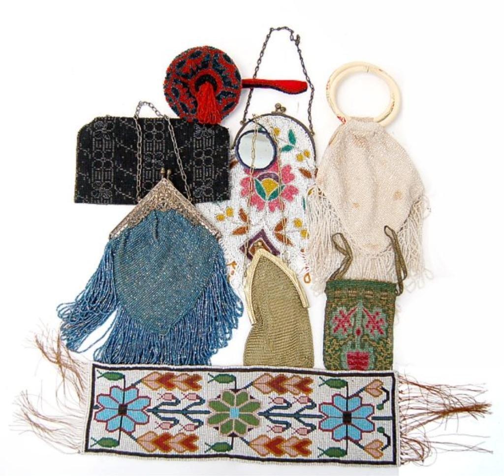 9: Lot of 8 vintage beaded purses c.1930