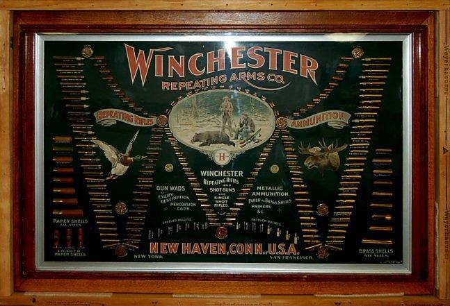"""120: RARE 1897 Winchester """"Double W"""" bullet board"""