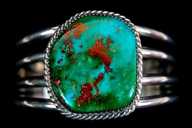 43: FINE lady's Navajo sterling Royston turquoise cuff