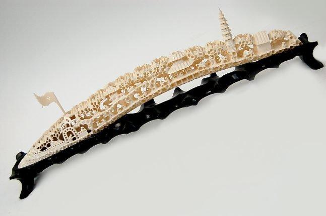 """46: Chinese carved 17"""" ivory tusk bridge"""