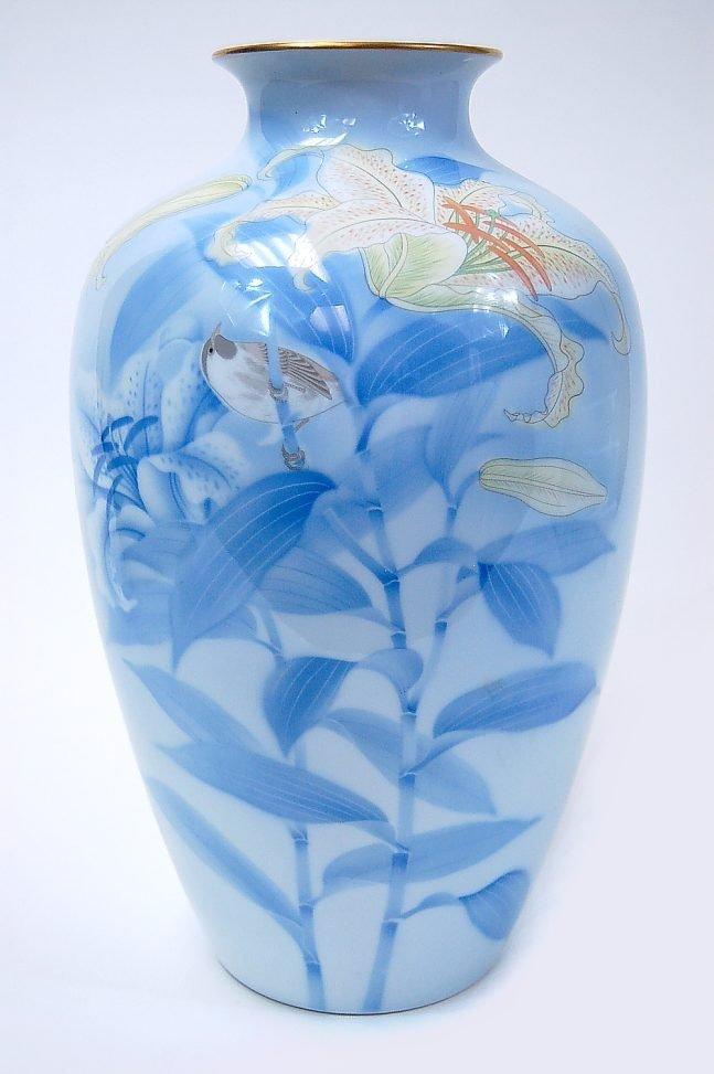 """40: FINE Japanese Fukagawa 15"""" porcelain vase with orig"""