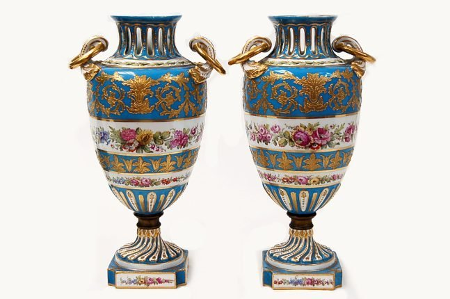 "64: Pair of Sevres matching 12"" hand-painted vases"