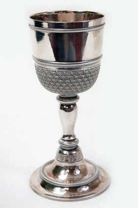"""23: Set of 6 Chrysalia German silver 7"""" goblets, all in"""