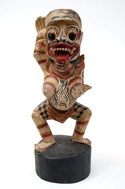 "53: Balinese ""She-Demon"" carved wood 16"" figurine depic"