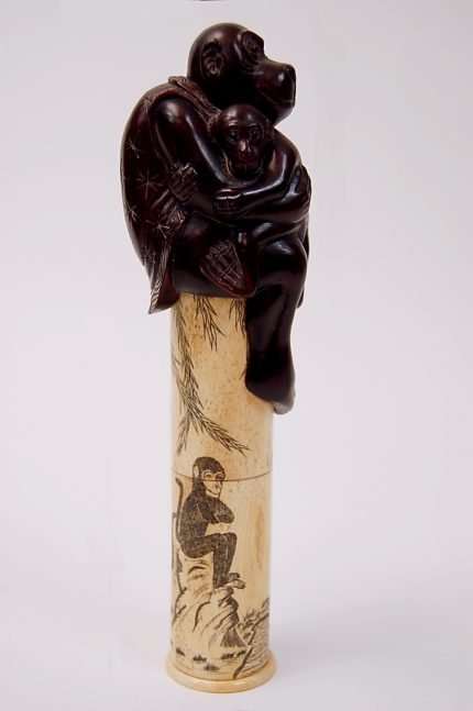 """42: Chinese scrimshaw 8.5"""" bone scepter with carved mon"""
