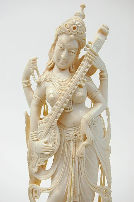 "69: Carved 9.5"" ivory Saraswati, Goddess of Music"