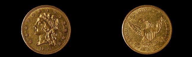 28: 1836 U. S. 2 1/2 dollar gold coin