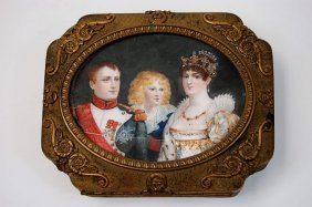 19th Cen. Bronze Box Depicting Hand Painted Portrai