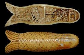 "10: Carved Mastodon 6.5"" ivory tusk fragment with elabo"
