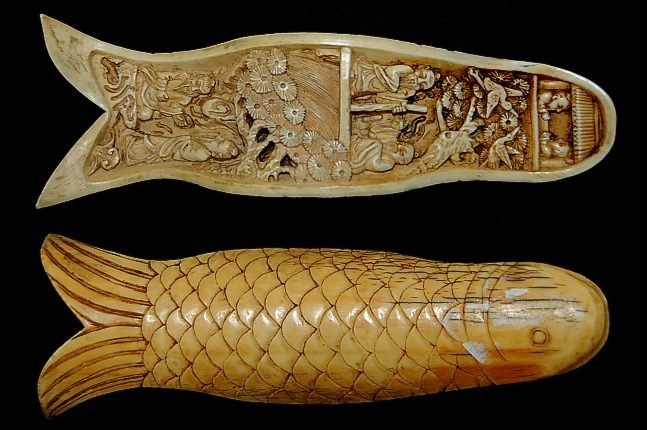 "10: Carved Mastodon 6.5"" ivory tusk fragment with elabo"