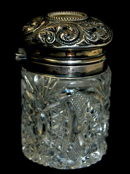 11: Antique Mauser sterling lidded cosmetic jar having