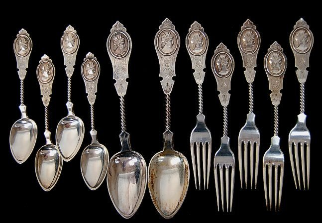 99: 11 pcs. American Duhme & Co. coin silver flatware i