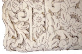 7: Vintage cotton tablecloth in creme and grey, having
