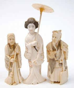 """2: Three small carved ivory figures to include a 4"""" Gei"""
