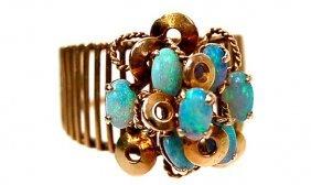 3: 14K Estate opal cluster ring set with 7 Australian o