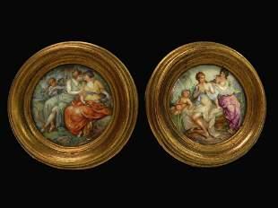 Pair of German handpainted porcelain plaques