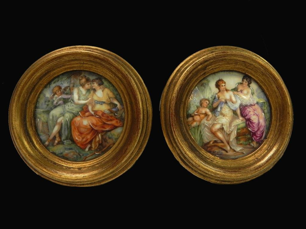 14: Pair of German handpainted porcelain plaques
