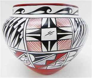 Acoma Pueblo pottery Olla by E. Suazo