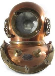 95: Vintage TOA 12 bolt brass and copper diving helmet
