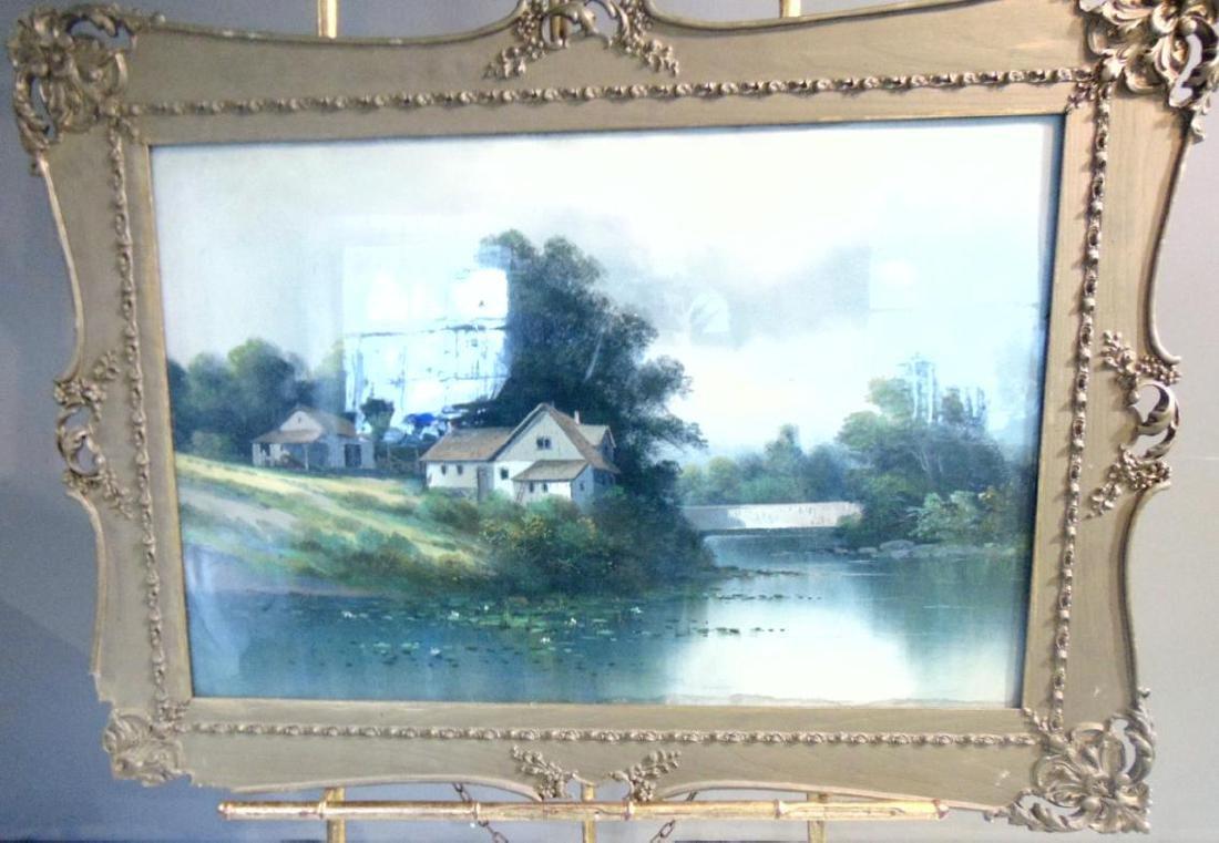 Pastel Farm Scene by River