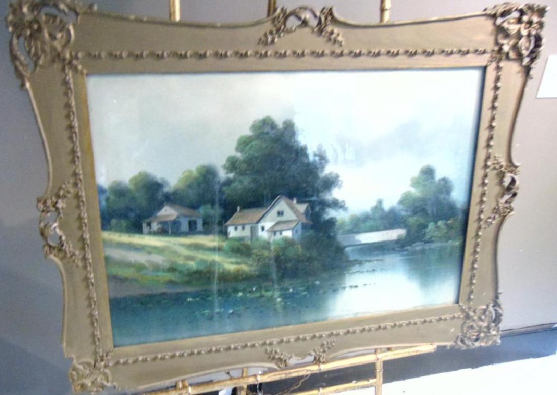 Pastel Farm Scene by River - 3
