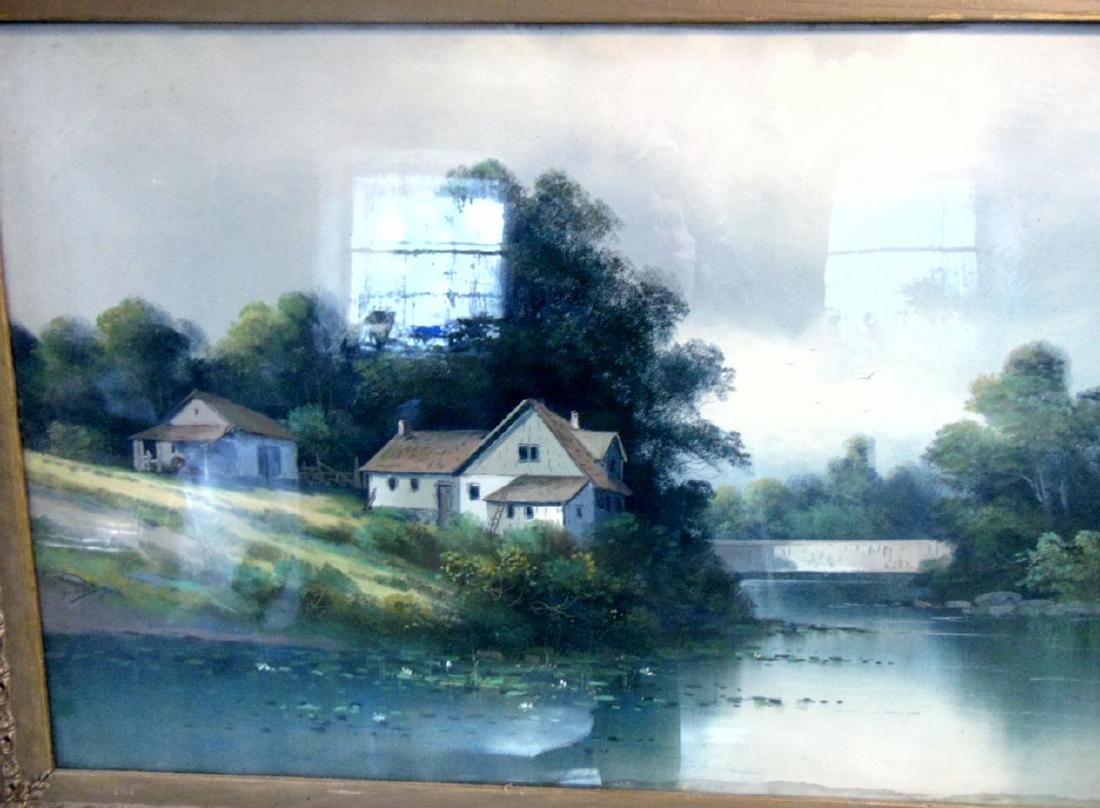 Pastel Farm Scene by River - 4