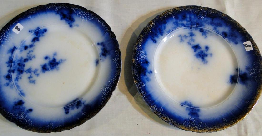 Flow Blue La Belle China Tureen & Dinner Plates - 3