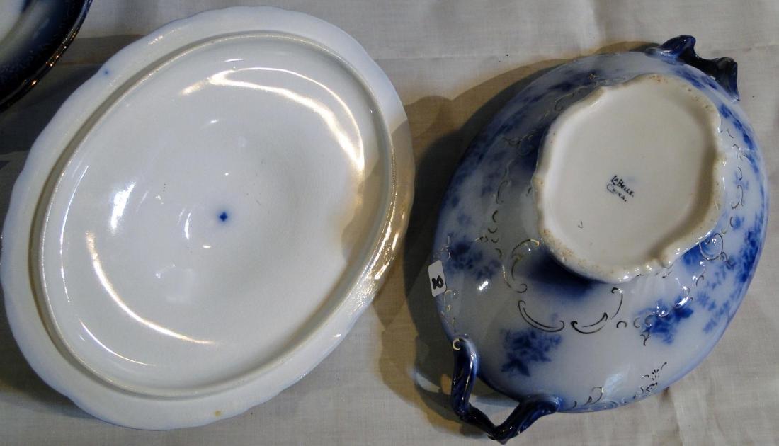 Flow Blue La Belle China Tureen & Dinner Plates - 5
