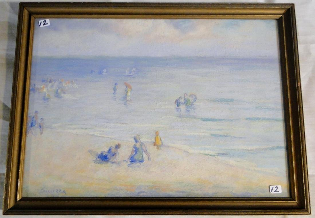 Francesco Spicuzza Pastel of a Beach Scene