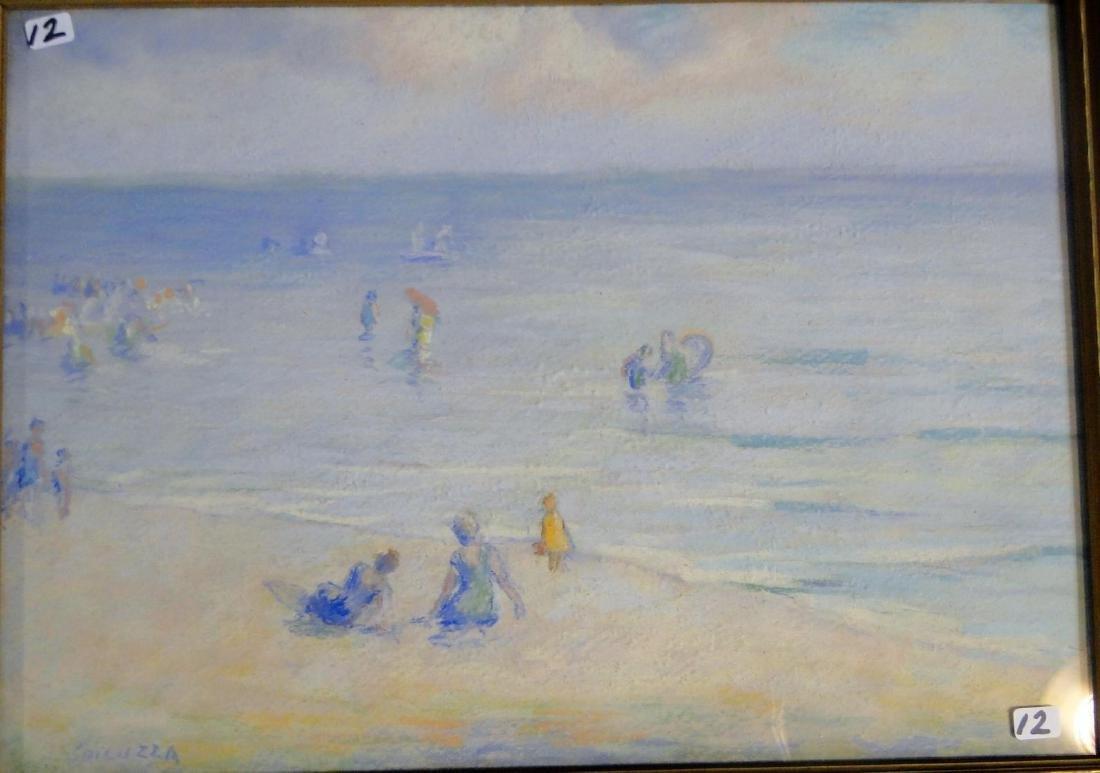 Francesco Spicuzza Pastel of a Beach Scene - 2