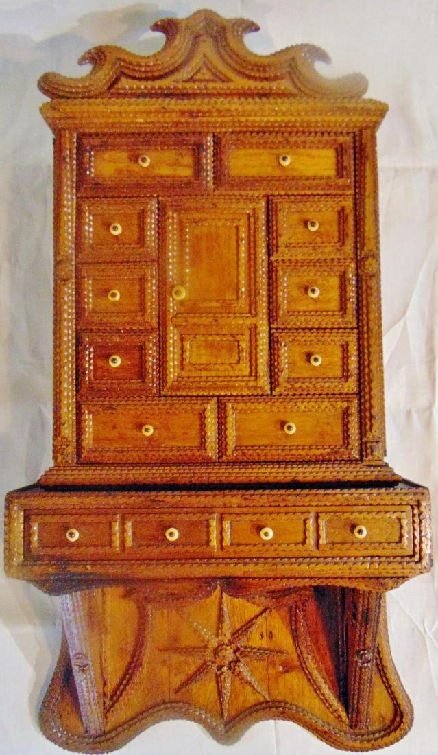 Folk Art Tramp Art Spice Cabinet