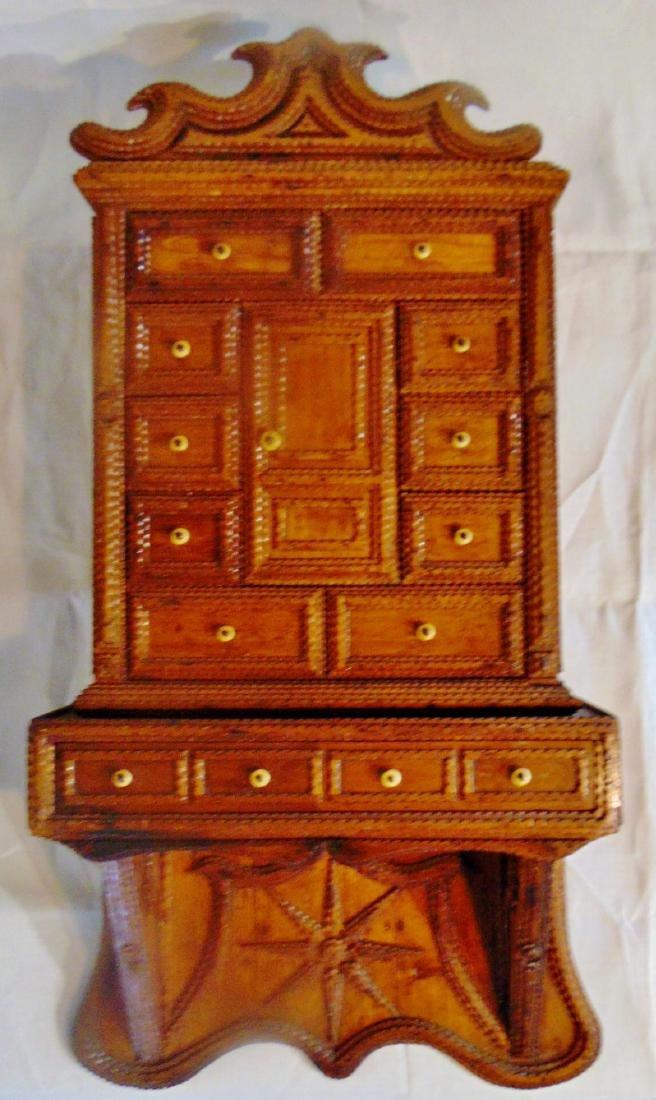 Folk Art Tramp Art Spice Cabinet - 2