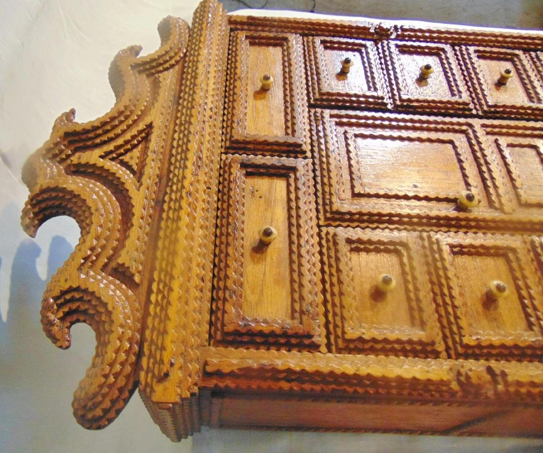 Folk Art Tramp Art Spice Cabinet - 4