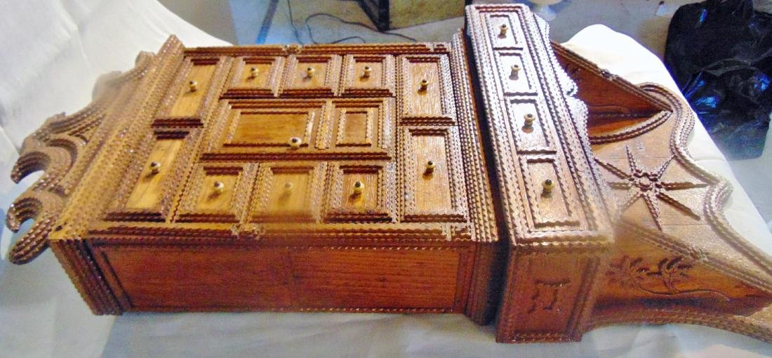 Folk Art Tramp Art Spice Cabinet - 5