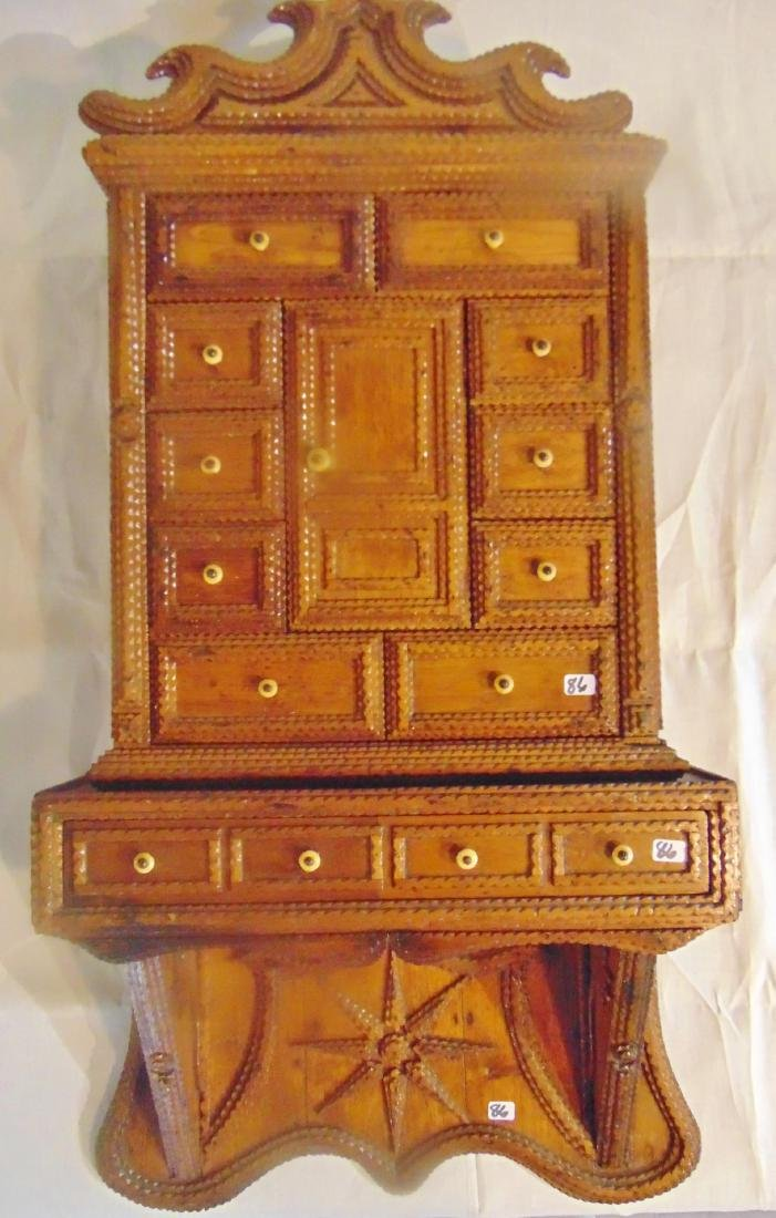 Folk Art Tramp Art Spice Cabinet - 6