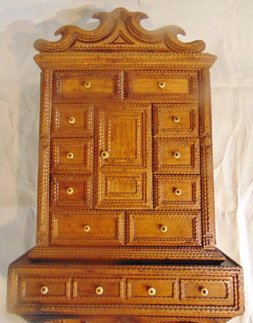 Folk Art Tramp Art Spice Cabinet - 8